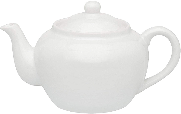 16oz White Teapot W/Infuser