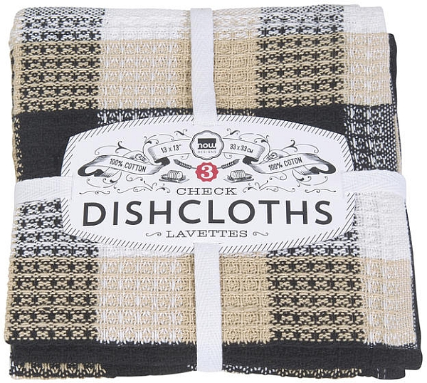 Dishcloths Set of 3 Black Check